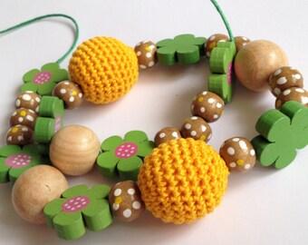Baby Crochet Necklace/ Little girl yellow Necklace/ Wooden Crochet Necklace/ Toddler Girl Necklace/ Flower Crochet Necklace/ Gift for Baby