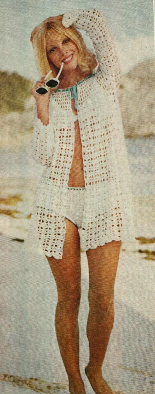 Book Cover Crochet Jacket : Crochet bikini cover up pattern vintage s beach