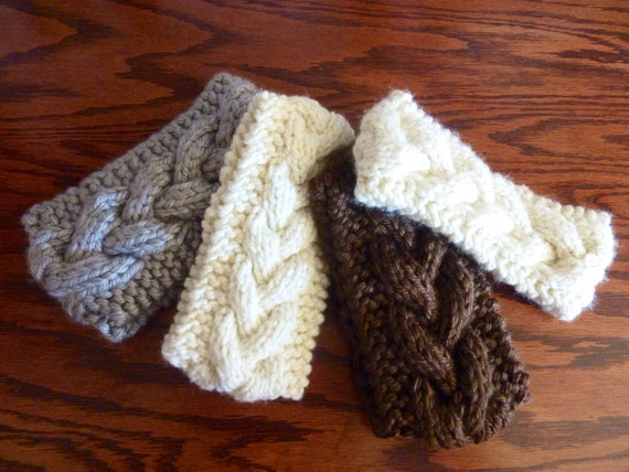 Knitted Soft Chunky Cable Headband Earwarmer