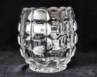 Antique Pressed Glass Spooner or Spoon Holder in Block pattern