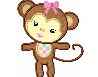 Girl Monkey Applique Machine Embroidery DESIGN NO. 61