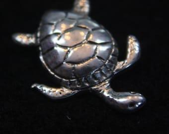 Turtle - Sterling Silver Dangle Earrings