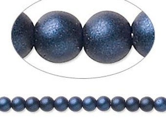 Czech Glass Pearl - 6mm - Dark Blue Satin - Pack 40