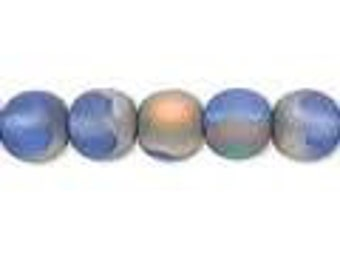 Czech Glass Druk 8mm - Pack 20 Beads - Frost Iris Blue