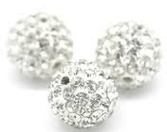 Rhinestone Silver 8mm Ball - Clear Crystal and Silver - Pack 6