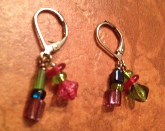 Vintage Green and Pink Crystal Dangle Earrings Jewelry