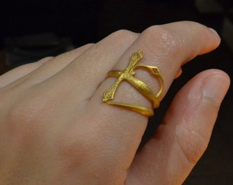 Sword Ring in Gold Vermeil 18K-Sterling silver 925-Medieval Jewelry-Gold Rings-Saber Ring-Original Gift For Her-Gift For Him-Knight Jewelry