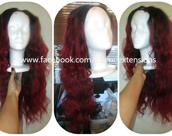 High Heat Synthetic Remy Human Feel Ombre Dip Dye Lace Front