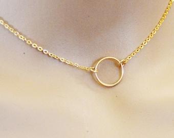 Karma Circle Gold Choker Necklace, 14k Gold Fill Choker Necklace, 14 Inch Necklace, Eternity Choker Infinity Circle Choker