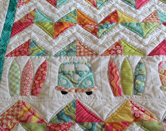 Bed Quilt, Sofa Quilt, Kombi Van, Surf, Surfer Quilt, Wall Hanging