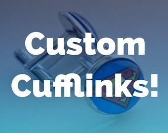 Custom Cufflinks - Silver Cufflinks - Comic Book Wedding- Geek Wedding -Cosplay Wedding - Comic Cufflinks-  gifts for him- Gamer Wedding