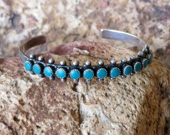 Fred Harvey Era Turquoise Row Cuff Bracelet, Stamped Sterling