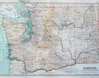 Antique Map : Washington, USA, US State Map. Encyclopedia Britannica, 1890s (111)
