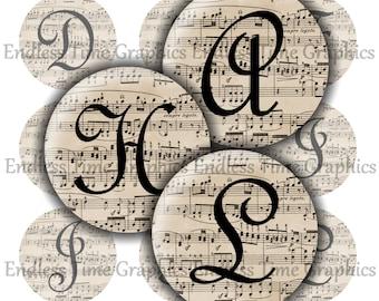 Music Bottle Cap Images ~*DIGITAL*~ Sheet Music Alphabet ~*Digital Collage Sheet*~ 1 Inch Printable Circles