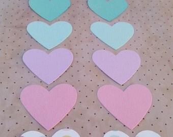 Set of 10 Pastel Love Heart Die Cuts