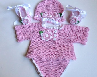 Baby Girl, Crochet, Long Sleeve Sweater, Diaper Cover, Hat, and Ballerina Slippers Set.  Special Order.