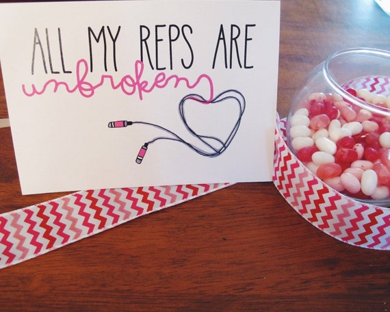 Fitness valentines day greeting card unbroken reps m4hsunfo