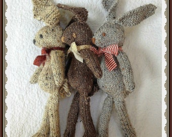 Bunny Rabbit KNiTTING PaTTERN Stuffed Toy Animal PDF PaTTeRN ONLY Child Cuddly Floppy Ear WEE BuNNEE PaTTeRN PiC TuTORiAL Newborn Baby Prop