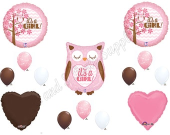 New!! BABY GIRL OWL Balloons Decorations Supplies Baby Shower Happi Tree