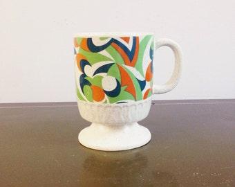 Mid-century Retro Pattern Coffee Tea Mug, Vintage Abstract