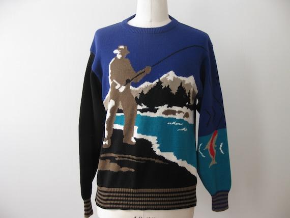 Vintage fishing sweater fisherman tacky christmas large for Fishing christmas sweater