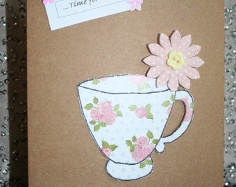 Handmade Mothers Day card with a floral teacup