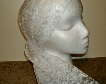 """White Lace Headcovering Tichel Scarf-Shawl-15.5"""" X 58"""""""