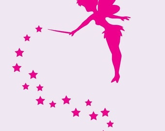 Tinkerbell Silhouette with Stars Wall Stickers  Decal free shipping
