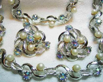 Vintage Blue AB Rhinestone Necklace Bracelet & Earrings