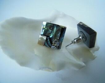 Abalone Shell Earring Stud Square Earring Studs