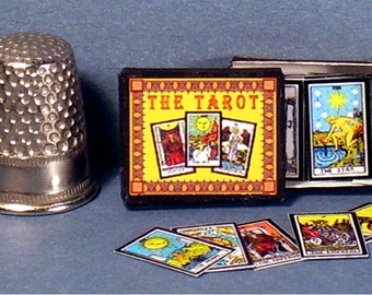 Tarot Cards in Decorative box - Dollhouse Miniature - 1:12 scale - Dollhouse Accessory - 22 Major Arcana cards - Fortune Telling Gypsy game