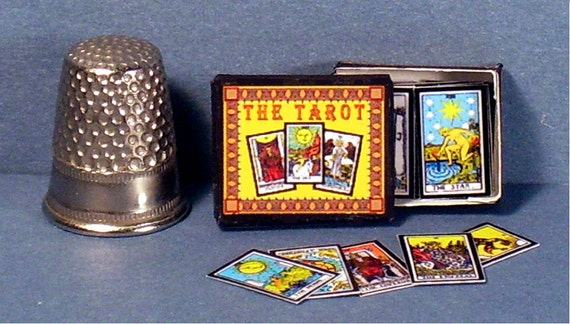 Tarot cards in decorative box dollhouse miniature by for Decorative tarot cards