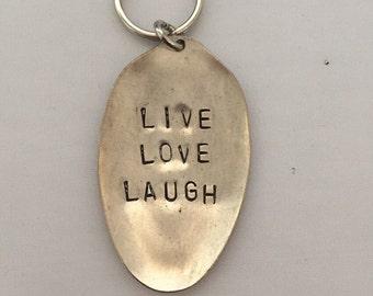 Handstamped spoon head keyring; live, love, laugh