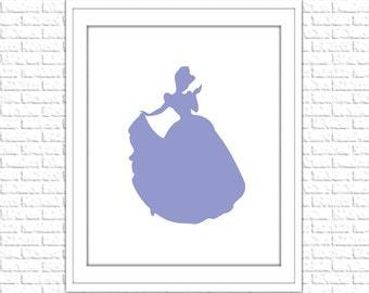 Lavender Cinderella Silhouette Print | 8x10 Printable Art Print | Girl Wall Art | Girl Printable | Instant Download Printable, Purple