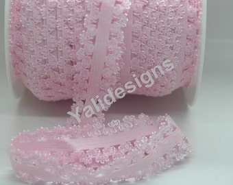 U Pick 1 or 5 or 10 Yards Lt Pink 3/4''  Picot Edge Stretch Lace, Frilly edges elastic webbing,Lace for Headbands,Wholesale Headbands YTA35G