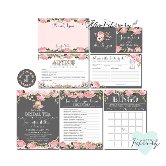9-Piece-Suite Blush Pink Bridal Shower Tea Party Invite // Dark Gray Background // Blush Bridal High Tea // Printable No.930