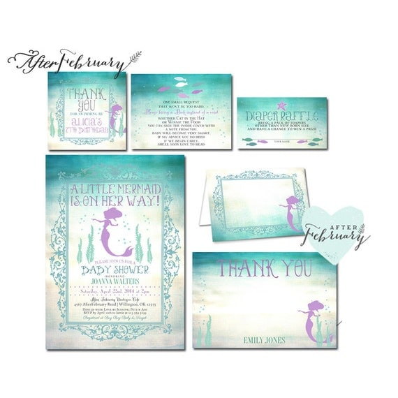 suite mermaid baby shower invitation little mermaid shower invites