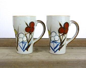 Pair of vintage ceramic mugs   floral ceramic mugs