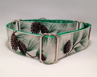 1.5 inch or 2 inch Martingale Collar, Pinecones Sliver Sparkles Flakes Holiday Martingale Collar, Greyhound Dog Martingale Collar