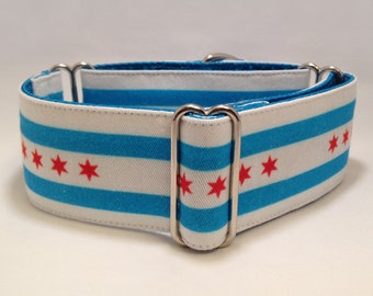 2 inch Martingale Collar, Chicago Lover Martingale Collar, Inspired by Chicago Flag Martingale Collar, Greyhound Dog Martingale Collar