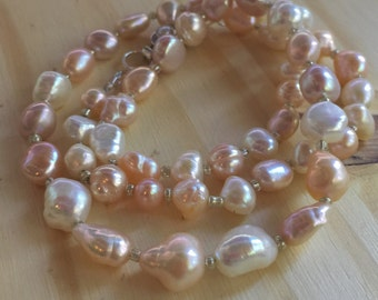 Pastel Clouds Metallic Freshwater Baroque and Nugget Rosebud Pearl Necklace with silvery glass seed beads Jewelry