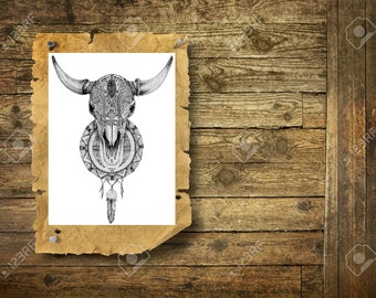 Bison skull - Temporary tattoo