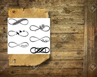 Infinity symbols Set of 6 - Temporary Tattoos