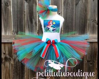 Little Mermaid Ariel Birthday Tutu set any size available 12m to 8y FREE Headband