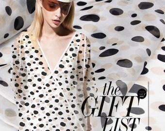 140cm wide 8mm doodle polka print silk organza diy clothes dress fabric