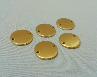 25 Pcs Raw Brass 14 mm Round Stamping Blank Disc Tag - ( 2 Hole -Thickness Of 1 mm ) 18 Gauge