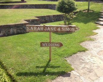 Handmade Personalised Sign. Hand painted on Reclaimed Wood. Rustic Vintage Country Wedding Party Sign Arrow. Custom Made to order.
