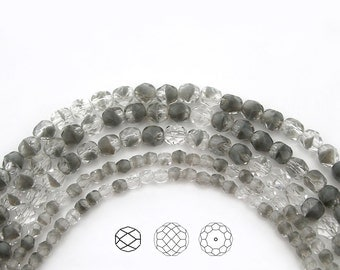 Czech Fire Polished Round Faceted Glass Beads in Crystal Grey Givre 2-tone combination, 4mm and 6mm, 16 inch strands