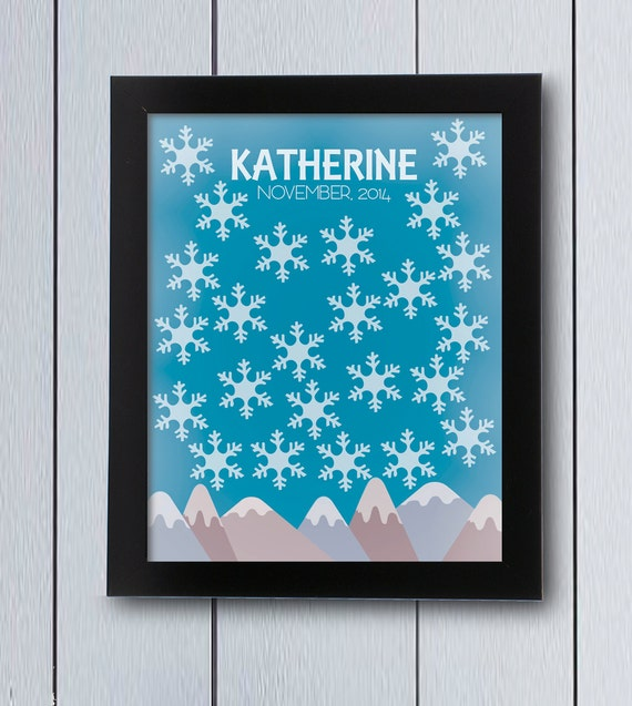 Winter Birthday Guest Book Baby Shower Guestbook Frozen