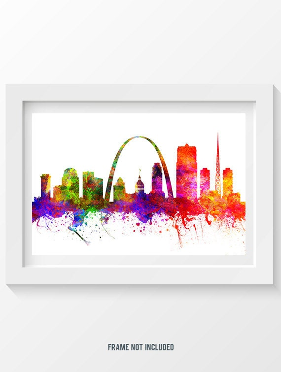 St Louis Missouri Skyline In Color Poster Home Decor Gift
